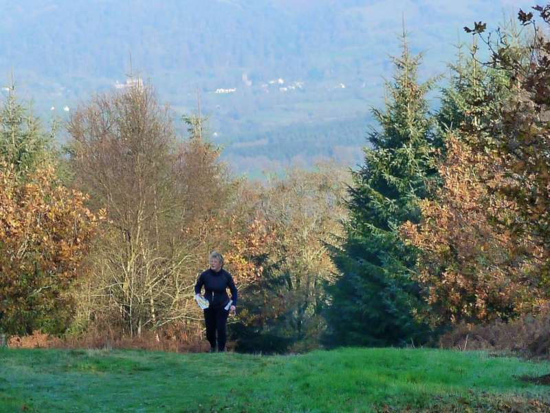 Steep ascent to the folly, with the Quantocks behind