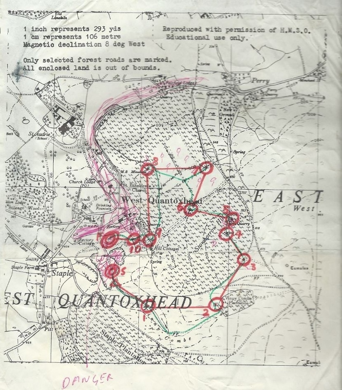St Audries map, 1970