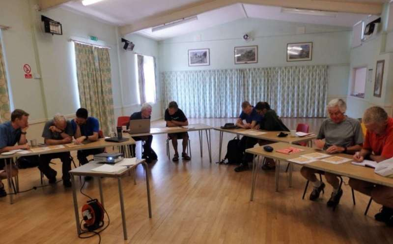 Scrutinising maps at Ilsington Village Hall