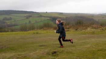 This junior stays focussed despite the great views beyond Cothelstone Hill