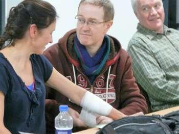 Chris Bandages Sheilas Arm