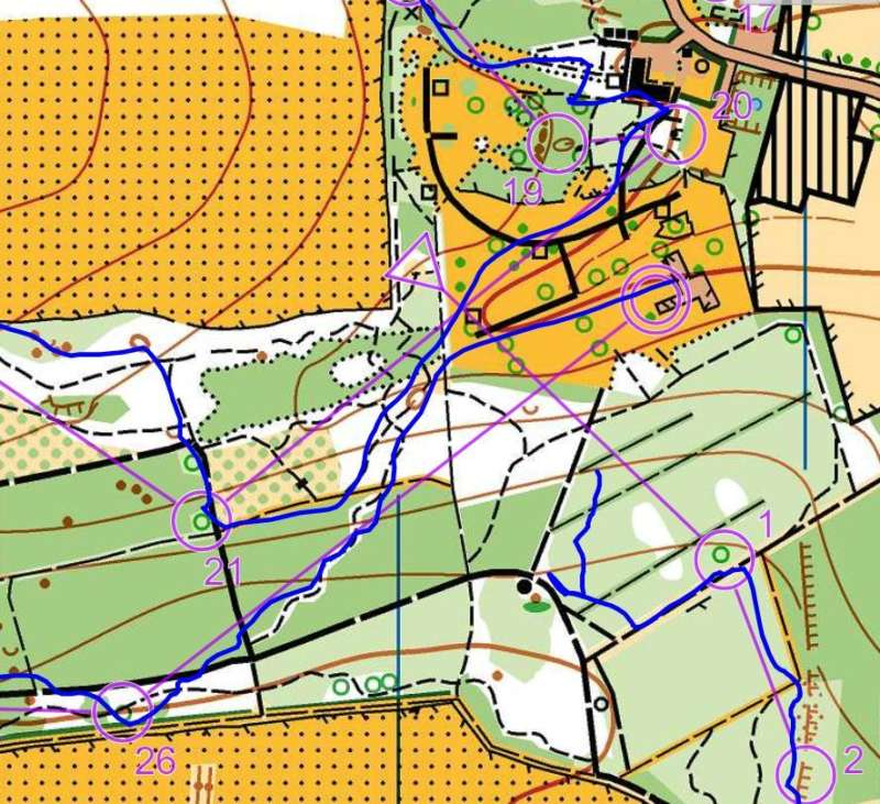 Brown course (Jeff's route)- a dodgy (partly recorded) start, followed b zig zagging downhill descent to the finish...along a MTB trail