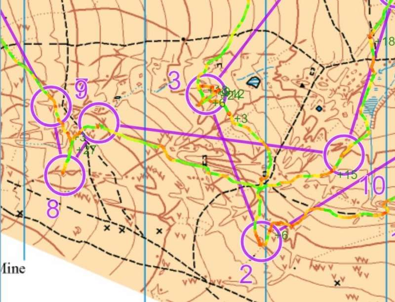 """Jeff's GPS route on the Brown course, with """"traffic light"""" colour coding for running speed!"""