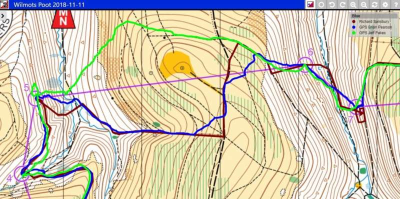 The long leg - Richard's route shown in Brown (with Brian P's in Blue and Jeff P's in Green)