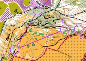 A leg traversing open hill top on the Short Green, I mean Orange course, Leckhampton,
