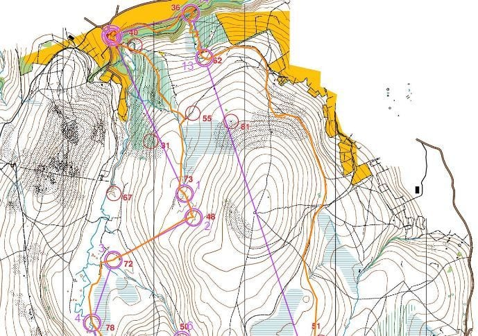 Jeff Pakes' route on medium course (north)