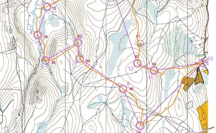 Jeff Pakes' route on medium course (south)