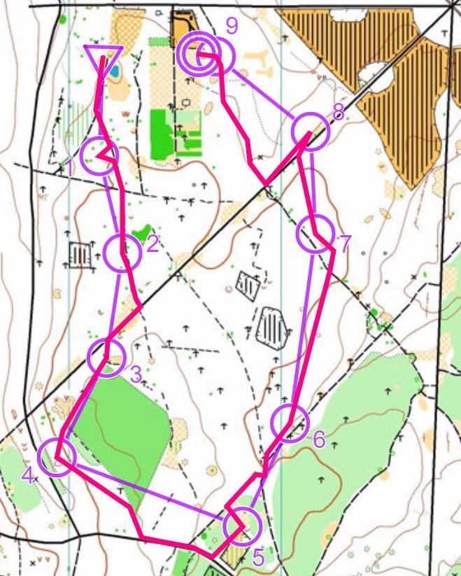 Winning route on Orange, 2013- note the corner cutting