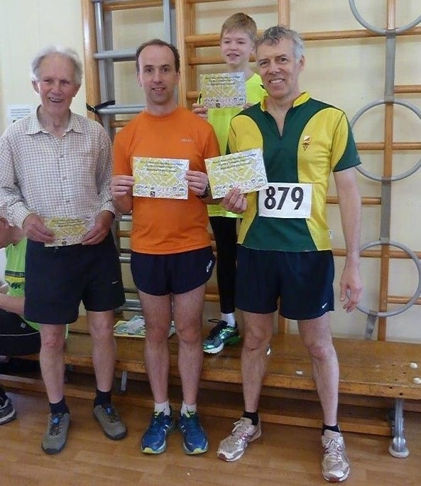 Right to left, Champion Brian, challenger Andrew and organiser Richard (with Mike C)