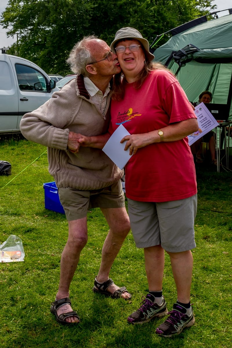 Christine V handing trophy to a grateful Arthur Boyt, Fernworthy 2015