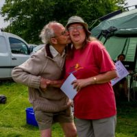 Christine V handing trophy to a grateful Arthur Boyt, Fernworthy 2015