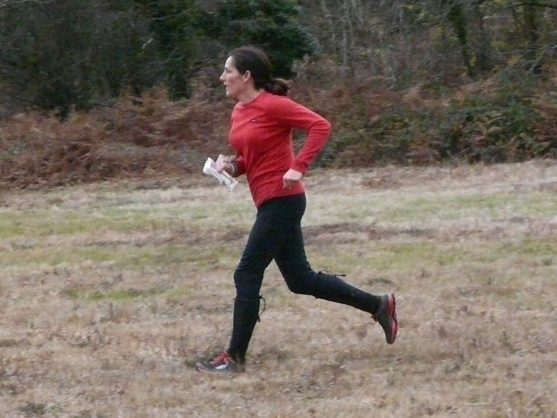 1st on Green- Rachel striding out at Ash Priors JOG