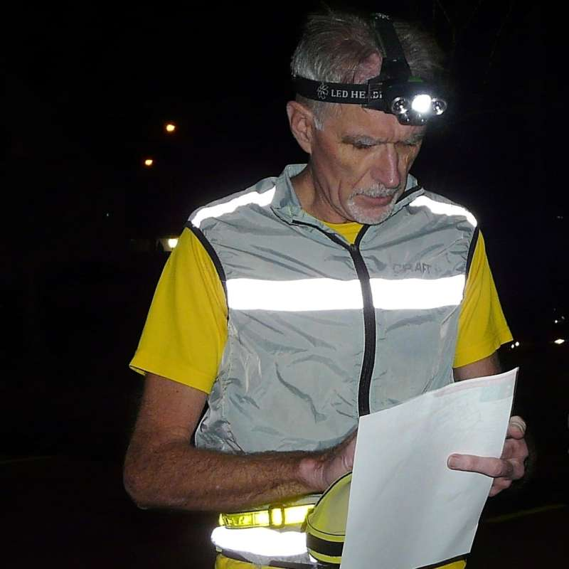 After dark, be safe & be seen with head torch, high viz & fluourescent piping
