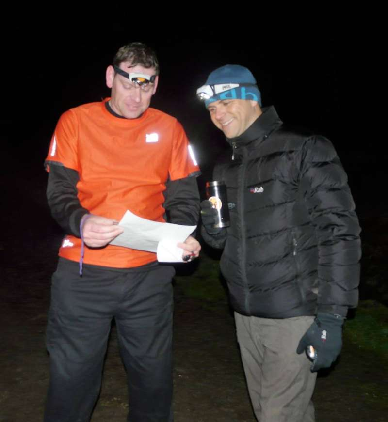 Adrian (right) helping an after-dark first-timer, Culm Davy