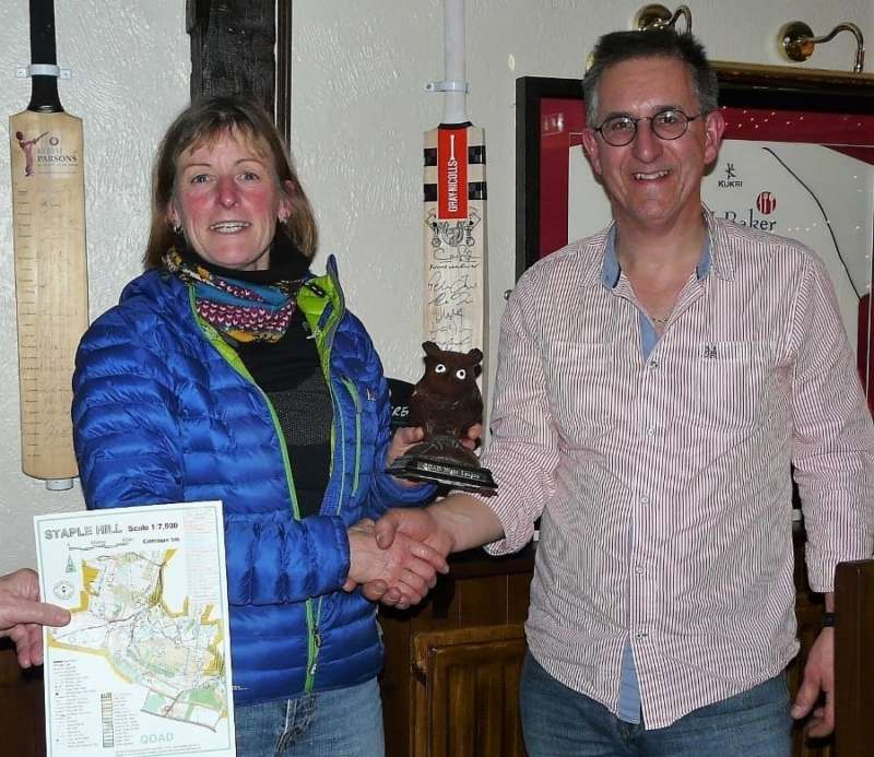Robin Carter received Night Owl trophy from planner Graham Hartley