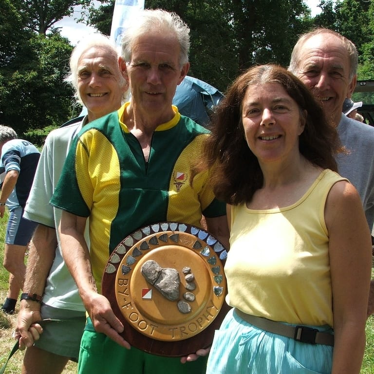 Sue with Bill, Mike Crockett, Ted Heath and the Devon Relays trophy